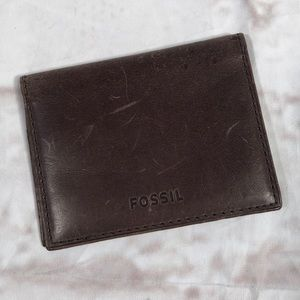Fossil card holder.  Brown leather